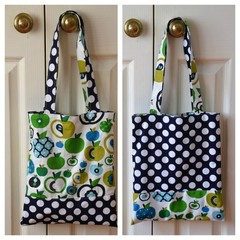 Handy Tote Bag - Green Apples & Navy Polka Dots - Totally Reversible