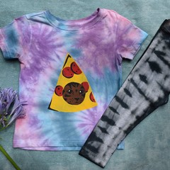 Pizza Cat - Baby Size 1 Tie Dye Shirt and Leggings Set
