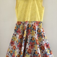 Pretty fabric  combination in this dress for a 9 year old.