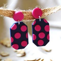 Navy & Pink Polka Dot Dangle Earrings