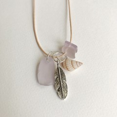 Sky Warrior - Sea glass cotton adjustable necklace