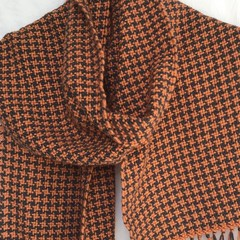 Handwoven Houndstooth Scarf, 100% Acrylic, Burnt Orange & Grey