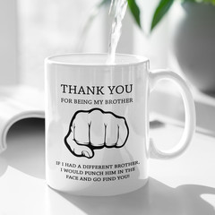 I'm Glad You're My Brother Personalised Ceramic Coffee Tea Mug Cup - CM005