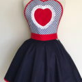 Navy and Red Heart Vintage Style Womens Apron