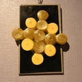 Paper bead necklace, quilling beads in yellow and silver pendant
