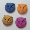 Polymer clay buttons, owls in blue, organe, coffee and purple