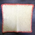 Cream Colour Hand Crocheted Face Washer with Pink Trim