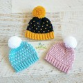 NEWBORN Hand made Crocheted Knitted Snowdrop Baby Beanie with Pompom