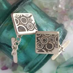 Sterling silver deco style handmade cufflinks