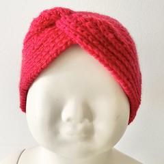 Headband Earwarmer, Child-Teen, FREE POST ,  Wool,  Red, Hand Knit