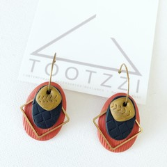 TEXTURE Hoops (Terracotta + Noir + Old Gold) Interchangable Statement Dangles