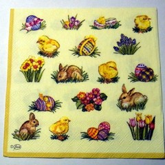 Serviettes, vintage paper napkins, Easter eggs and rabbits. Decoupage Napkins,