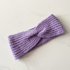 Headband Earwarmer, Child-Adult, FREE POST ,  Wool,  Lavender Purple, Hand Knit