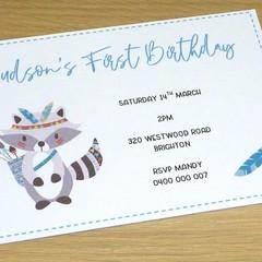 First Birthday invitations - tribal - boho animal