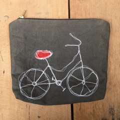 Bicycle Embroidered Pouch