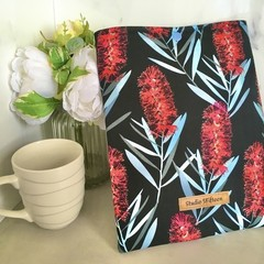 Banksia print padded book sleeve. Booksleeve with Closure
