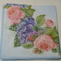 Pink Roses Vintage Paper Napkins, serviettes, ,  Decoupage Napkins