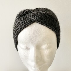 Headband Earwarmer, Child-Adult, FREE POST ,  Wool,  Charcoal Black, Hand Knit