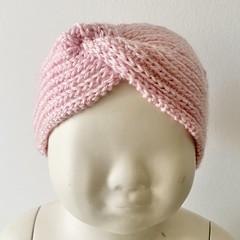 Headband Earwarmer, Child-Teen, FREE POST ,  Wool,  Pink, Hand Knit