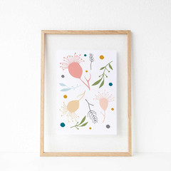 Nursery Art Print, Australian Native Flowers, Gumnuts