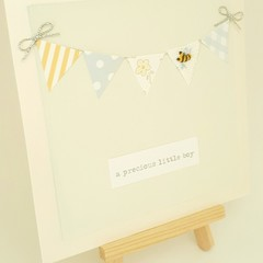 Hand-Embroidered Bumble Bee Baby Bunting Card