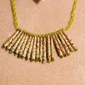 Asian influence. Handmade Paper beads gold /silver/ reds/ orange necklace
