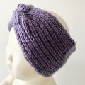 Headband Earwarmer, Child-Teen, FREE POST ,  Wool,  Purple, Hand Knit