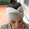 Headband Earwarmer, Adult, FREE POST ,  Wool,  Cream Grey, Hand Knit