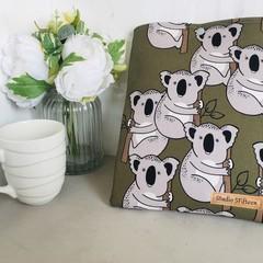 Koala print padded book sleeve. Australian wildlife Booksleeve with Closure