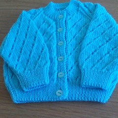 BABIES CARDIGAN KNITTED LEMON AND AQUA TO FIT FROM 3 TO 6 MONTHS