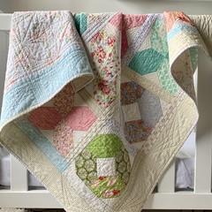 Modern handmade baby, child X's & O's patchwork quilt.