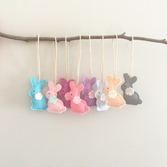 Set of 3, bunny tag, choose colours, felt hair clip, purple, pink, blue, mint