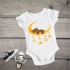 Bear Sleeping on moon Baby Unisex Onesies.