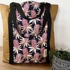 Australian flower tote/tan