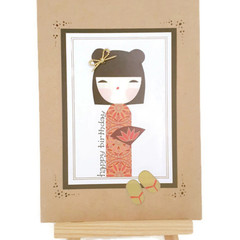 Handmade Japanese Kimmi Doll Happy Birthday Greeting Card