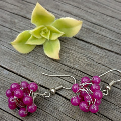 Hot Pink Stone Earrings