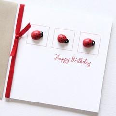 Happy Birthday Card, 3 Ladybugs Birthday Card, Birthday Card For Her, Teen Card