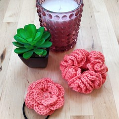 Crochet Scrunchie and Hair Elastic Set (various colours)