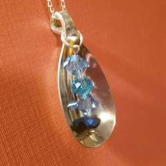Pendant necklace Upcycle cultlery with crystals  blue and silver