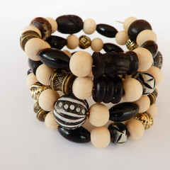 Natural & Black Wood Bead Wrap Bracelet