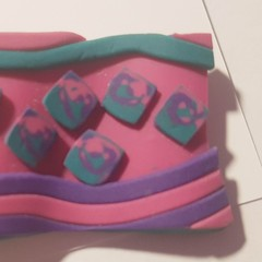 Polymer clay Pink purple and green Art Deco style brooch