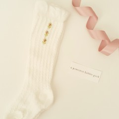 Vintage Hand-Embroidered Rosebud Winter Baby  Socks