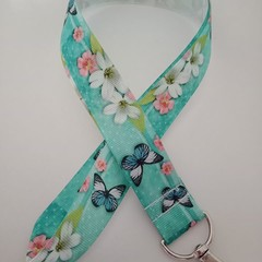 Pretty butterfly and flower lanyard / ID holder / badge holder