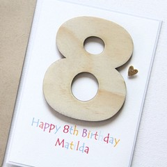 Any Age Custom Birthday card children kids personalised wood 1 2 3 4 5 6 7 8 9