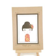 Handmade Japanese Kimmi Doll Thank You Greeting Card