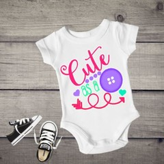 Cute As A Button Baby Girl Onesies.