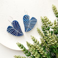Stacked Blue Love Leaf Hoops