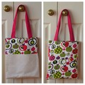 Handy Tote Bag - Pink Apples - Totally Reversible