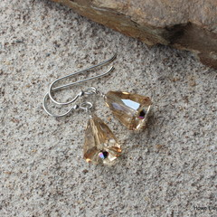 "Gold Swarovski ""bells"", Sterling Silver, earring"