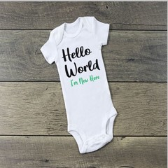 Hello World I'm New Here Unisex Baby Onesie Outfit.